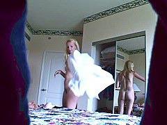 Hidden stripping babe