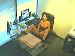 Voyeur masturbation in office