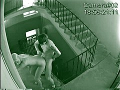Naked blonde and guy fuck at the stairs in cool voyeur video