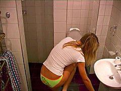Blonde near toilet