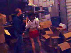 Guy fucks brunette at the warehouse in horny free private voyeur