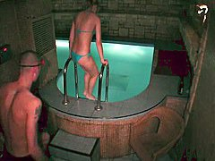 Naked couple fuck in the swimming pool in steamy hidden porn xxx