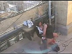 Voyeur fucking on the roof