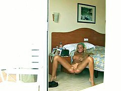 Candid blonde rubbing pussy