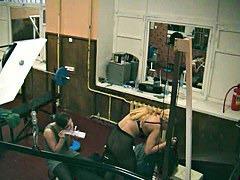 Blonde in gym on hidden camera