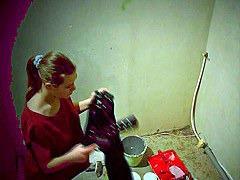 Brunette changing cloths