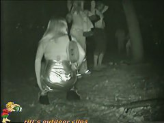 Partying pussies pissing at outdoor party with a spy cam observing