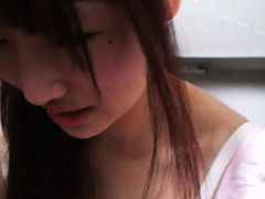 Petite asian babe with perkiy tits on downblouse cam