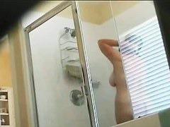 Hidden shower cam gets fat mature chick showering
