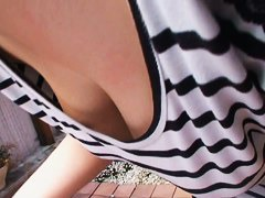 Big Japanese tits caught on this clever downblouse video