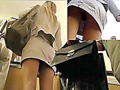 Hawt blond's string panty upskirt