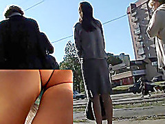 Hotty in strict outfit upskirts