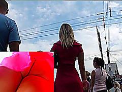 Slender waist cutie upskirts in public