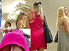 Bimbo in pink brassiere & white panty up petticoat