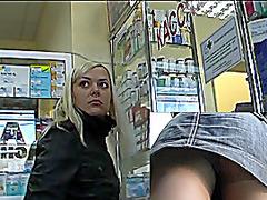 Sexy blondie's upskirt voyer movie