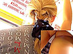 Youthful hawt blond upskirt episode
