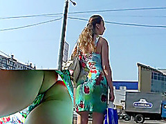 Colorful summer suit upskirt