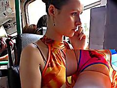 Hawt summer costume upskirt on a bus