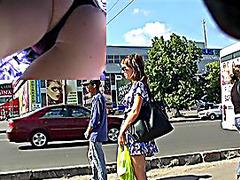 Sexy chick filmed on upskirt spy webcam