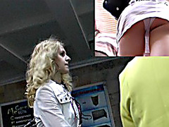 Hirsute golden-haired angel is a heroine of upskirt movie scene