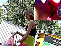 Fresh upskirt episode with golden-haired babe