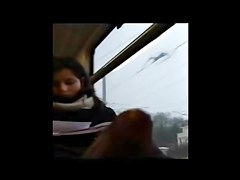 Flashing cute in train
