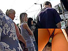Public upskirt on a bus stop