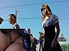 Lovely blondie in street upskirt movie