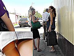 Excellent denim upskirt at bus stop