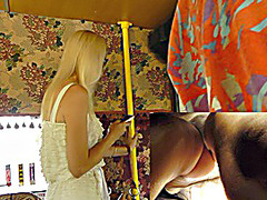 Golden-Haired gal flashed up petticoat