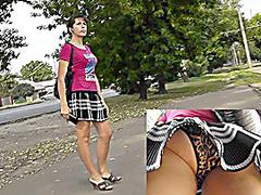 Hot upskirt filmed outdoors