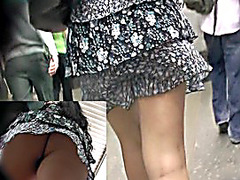 Lengthy-haired chick flashed up petticoat