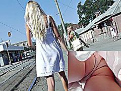 Blondes upskirt gazoo in beige panty
