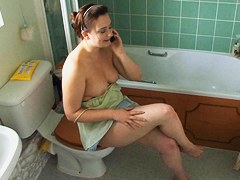 Talking on the phone in genuine topless down blouse style