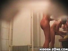 Shower spy cam scenes of amateurs spending goodtime