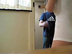 Girl in white t-shirt flashing naked butt cheeks on cam