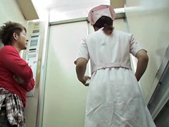 Rude man pulls nurse uniform up in the lift
