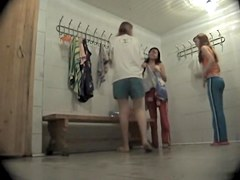 Cute girls changing and getting voyeured on a hot vid