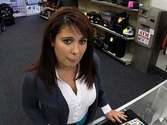 Slutty latina amateur pawns her pussy