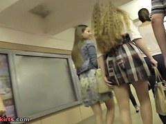 Slender girlfriends in the amateur public upskirt clip