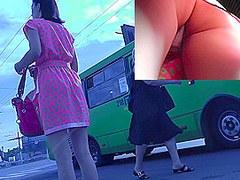 Amateur upskirt porn video was filmed in public