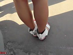 Real upskirt videos with stunning brunette coquette