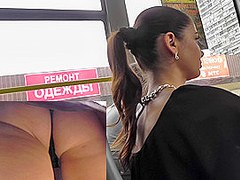 Brunette with ponytail and hot ass in upskirt scene