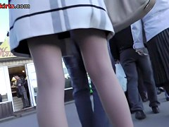 Elegant looking pantyhose in amateur public upskirt