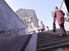 Upskirt cam met a chick who was walking with her friend