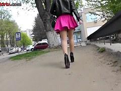 Gorgeous babe in the mini skirt up skirt scene