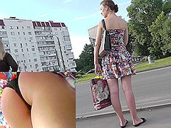Amateur woman with nice ass was upskirted in public