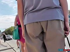 Upskirt cam presents blonde's succulent buttocks