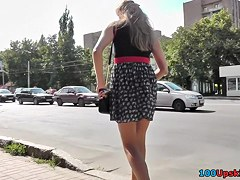 Amateur public upskirt with all natural young girl