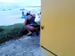 Kinky amateur spied pissing on the crowded beach